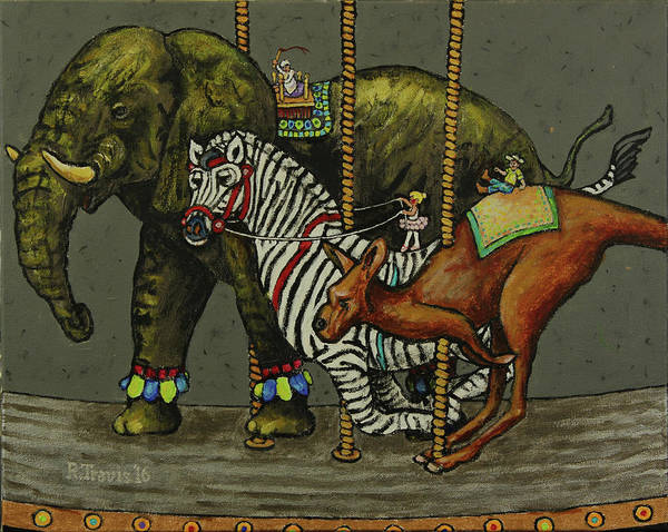 Wall Art - Painting - Carousel Kids 6 by Rich Travis