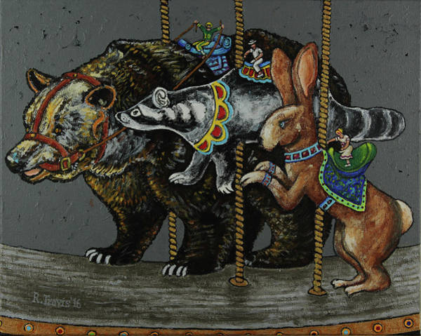 Wall Art - Painting - Carousel Kids 4 by Rich Travis