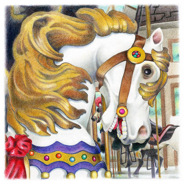 Merry Go Round Wall Art - Drawing - Carousel Three by Todd Baxter