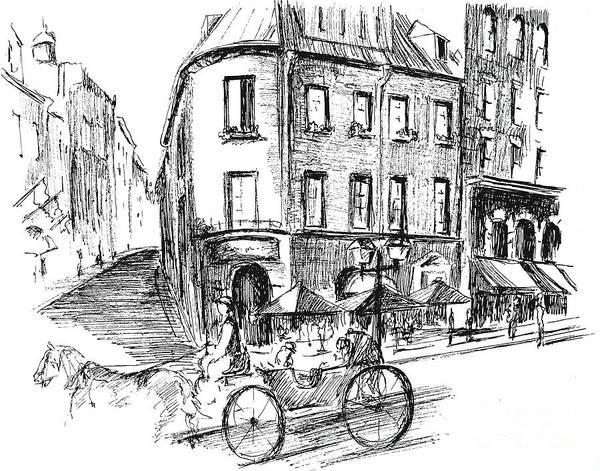 Quebec City Drawing - Carriage On Cote De La Fabrique by Louise Lavallee