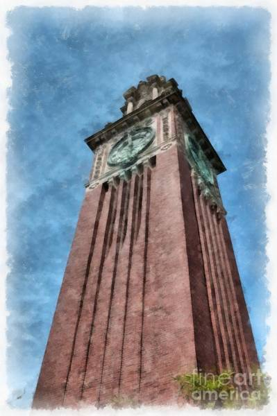 College Photograph - Carrie Clock Tower Brown University Providence Ri by Edward Fielding