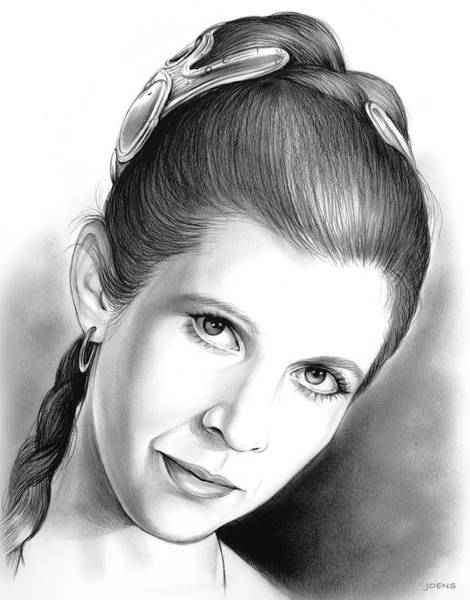 Wall Art - Drawing - Carrie Fisher by Greg Joens