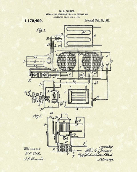 Drawing - Carrier Air Conditioner 1916 Patent Art by Prior Art Design