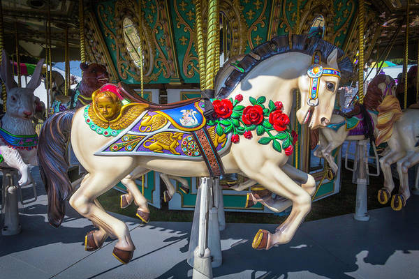 Carousel Horse Photograph - Carrousel Horse With Roses And Angel by Garry Gay