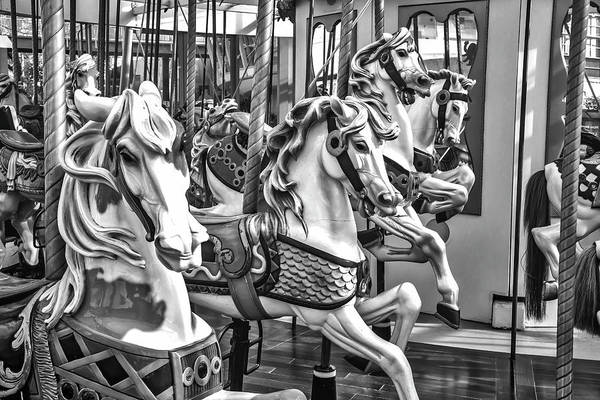 County Fair Wall Art - Photograph - Carrousel Horses In Black And White by Garry Gay