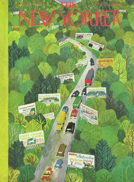 Ilonka Drawing - Cars Drive Down A Forest Highway Overrun With Billboards by Ilonka Karasz