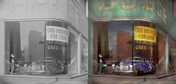 Photograph - Cars - Used - Cars Purchased For Cash 1943 - Side By Side by Mike Savad