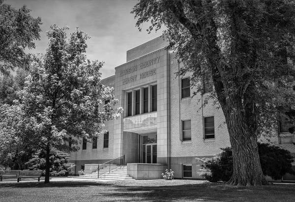 Photograph - Carson County Courthouse Bw by Joan Carroll