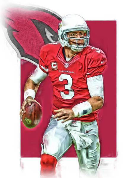 Cardinal Mixed Media - Carson Palmer Arizona Cardinals Oil Art by Joe Hamilton