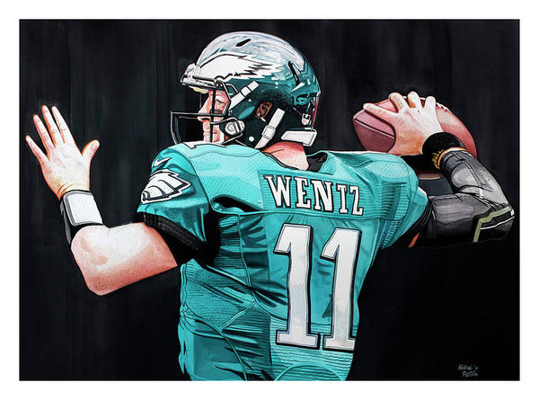 Draft Painting - Carson Wentz by Michael Pattison