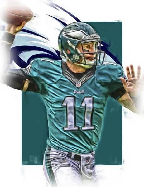 Iphone 4s Wall Art - Mixed Media - Carson Wentz Philadelphia Eagles Oil Art by Joe Hamilton