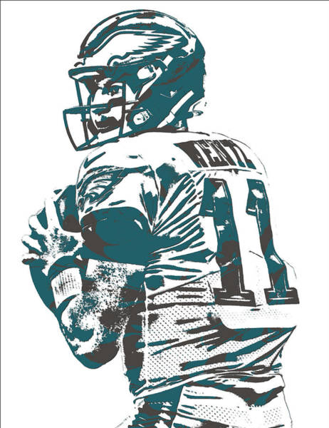 Super Bowl Mixed Media - Carson Wentz Philadelphia Eagles Pixel Art 9 by Joe Hamilton