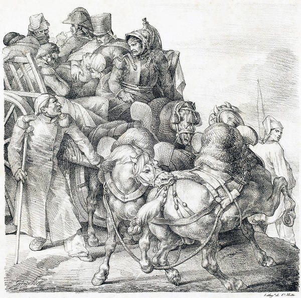 Drawing - Cart Filled With Wounded Soldiers  by Theodore Gericault