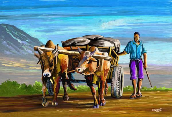 Uganda Painting - Cart Man by Anthony Mwangi