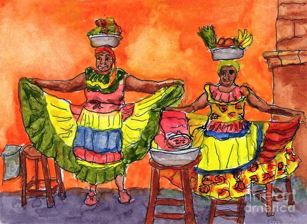 Cartagena Painting - Cartagena Fruit Venders by Randy Sprout
