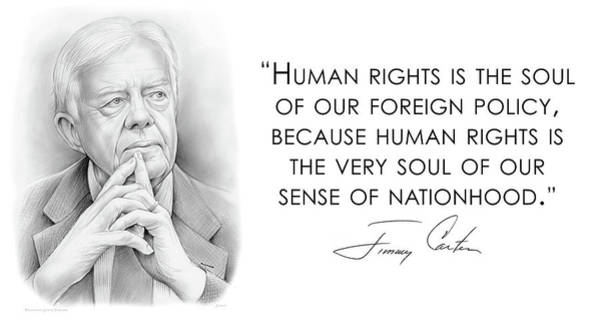 Wall Art - Drawing - Carter On Human Rights by Greg Joens