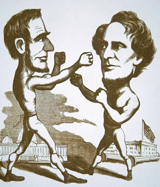 Wall Art - Drawing - Cartoon Depicting Abraham Lincoln Squaring Up To Jefferson Davis by American School