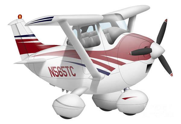 Cutout Digital Art - Cartoon Illustration Of A Cessna 182 by Inkworm