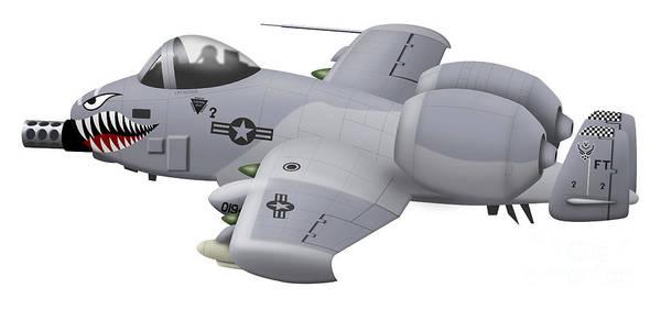 Cutout Digital Art - Cartoon Illustration Of An A-10 by Inkworm