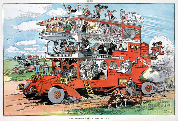 Drawing - Cartoon, Touring Car, 1905 by Granger
