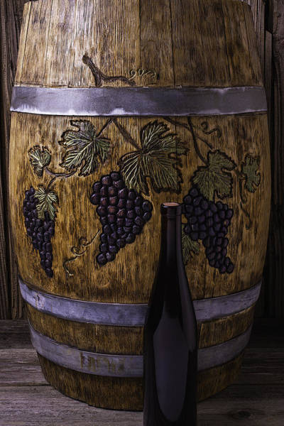 Wine Tasting Photograph - Carved Grapes On Wine Barrel by Garry Gay