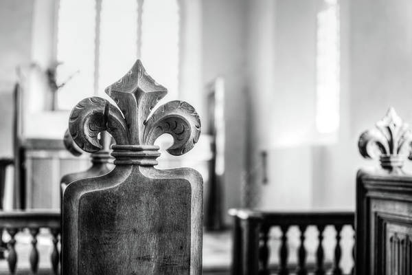 Photograph - Carved Poppy Head Bench In Medieval English Church Hdr Bw by Jacek Wojnarowski