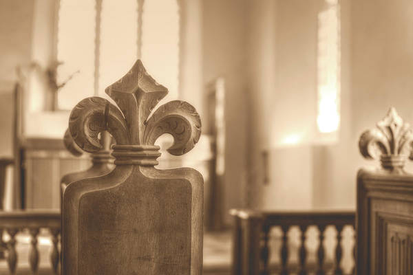 Photograph - Carved Poppy Head Bench In Medieval English Church Hdr by Jacek Wojnarowski