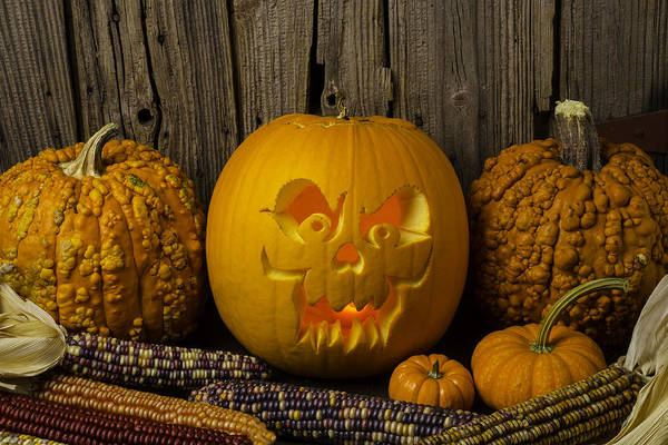 31st Photograph - Carved Pumpkin And Indian Corn by Garry Gay