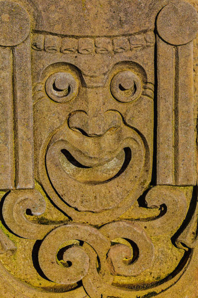 Wall Art - Photograph - Carved Stone Face by Garry Gay
