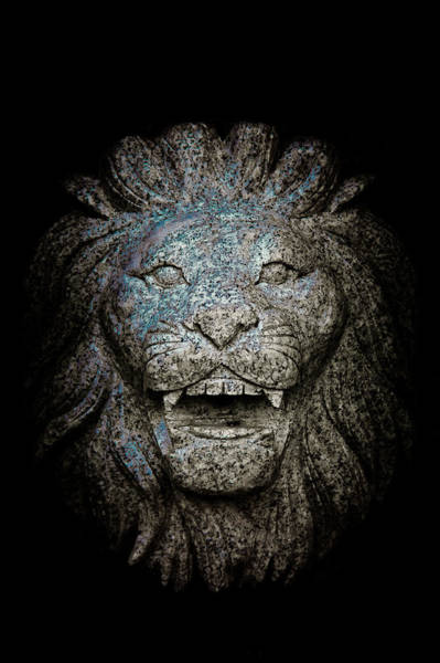 Wall Art - Photograph - Carved Stone Lion's Head by Loriental Photography