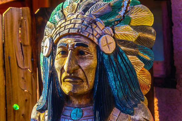 Wall Art - Photograph - Carved Wooden Indian by Garry Gay