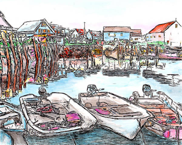 Drawing - Carvers Harbour With Boats , Vinal Haven,  Maine by Michele A Loftus