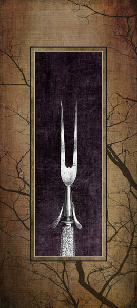Cutlery Photograph - Carving Set Fork Triptych 1 by Tom Mc Nemar