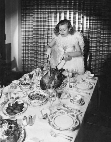 Mom Photograph - Carving The Thanksgiving Turkey by American School