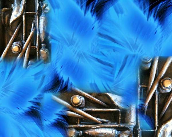 Wall Art - Digital Art - Carving Tools And Blue Feather by Judy Nelson