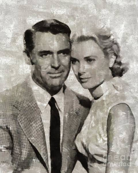Stardom Painting - Cary Grant And Grace Kelly, Hollywood Legends by Mary Bassett