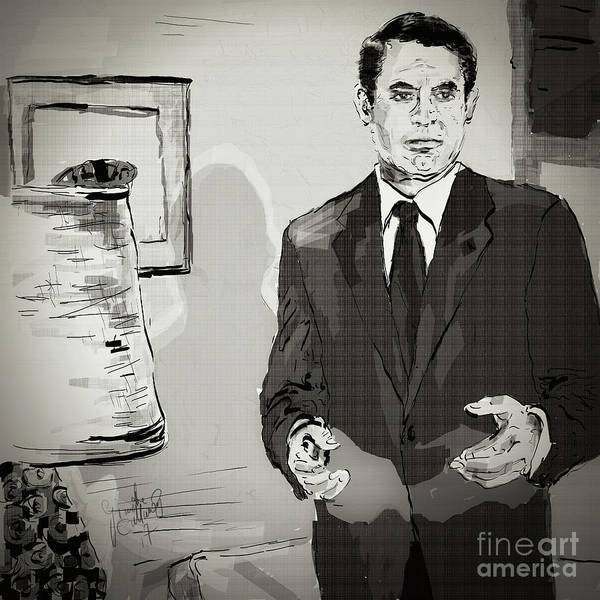 Digital Art - Cary Grant North By Northwest Monotone by Ginette Callaway