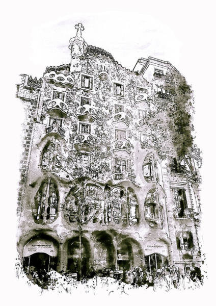 Outdoors Mixed Media - Casa Batllo Barcelona Black And White by Marian Voicu