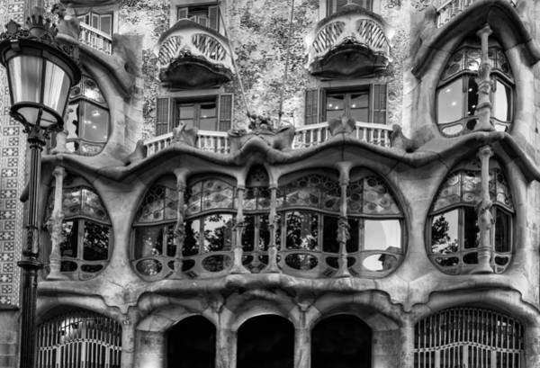 Photograph - Casa Batllo Black And White by Georgia Fowler