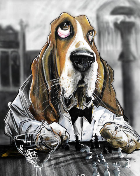 Pet Portrait Drawing - Casablanca Basset Hound Caricature Art Print by John LaFree