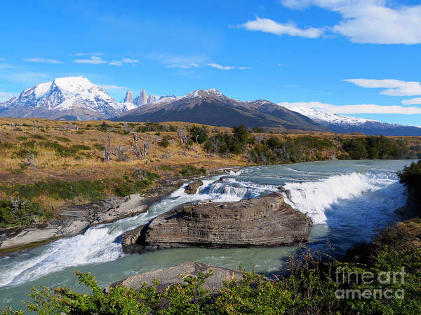 Wall Art - Photograph - Cascada Paine On Rio Paine In Torres Del Paine National Park Chile by Louise Heusinkveld