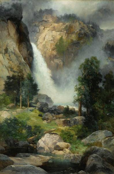 Wall Art - Painting - Cascade Falls by Thomas Moran