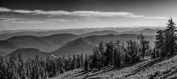 Wall Art - Photograph - Cascade Mountains From Pacific Crest Trail Monochrome by John Trax
