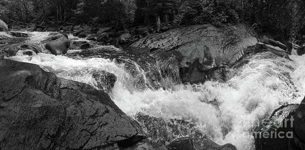 Photograph - Cascade Stream Gorge, Rangeley, Maine  -70756-70771-pano-bw by John Bald