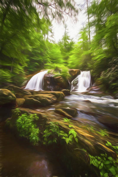 Spring Mountains Digital Art - Cascades In The Forest In Summer Painting by Debra and Dave Vanderlaan