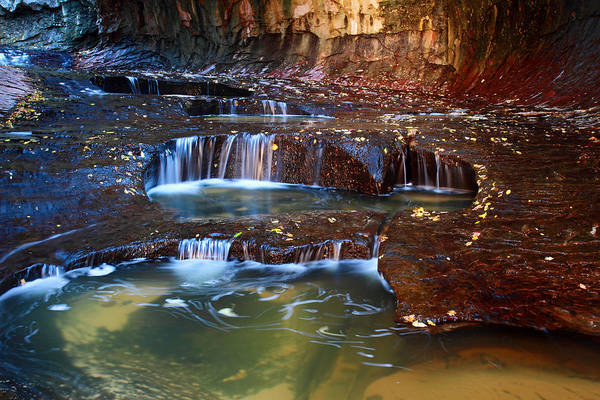 Photograph - Cascades In Zion's Subway by Pierre Leclerc Photography