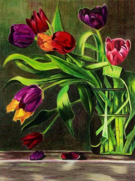 Art Print featuring the painting Cascading Tulips by Patti Ferron