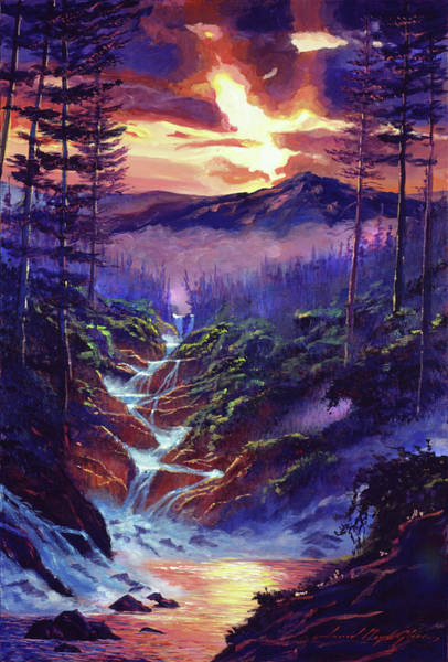 Painting - Cascading Waters by David Lloyd Glover