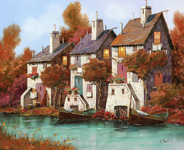 Roof Painting - Case Al Crepuscolo by Guido Borelli