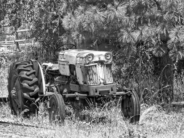 Photograph - Case Tractor Yard Art Bw by David King